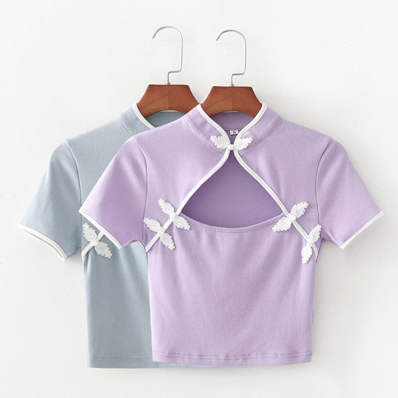 cheongsam collar sexy short womens Tshirt  NHAM315107