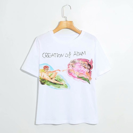 cartoon anime front print short-sleeved T-shirt   NHAM315109's discount tags