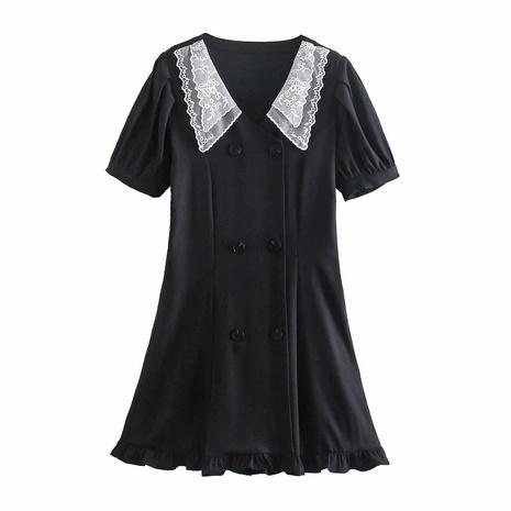 vestido de doble botonadura con costuras de cuello de encaje de primavera NHAM315113's discount tags