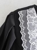 vestido de doble botonadura con costuras de cuello de encaje de primavera NHAM315113