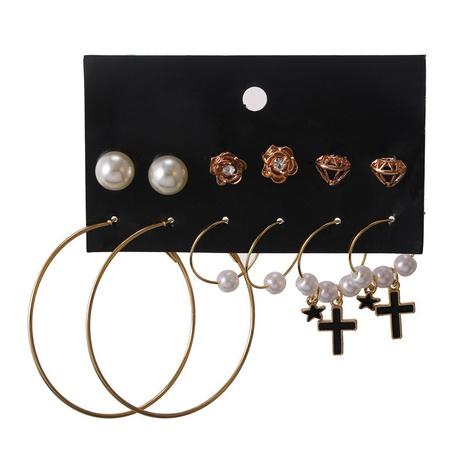 cross metal simple pearl earrings set NHZU315124's discount tags