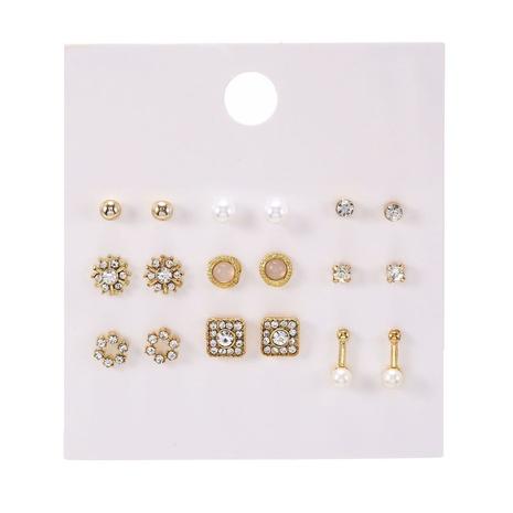 metal crystal earrings 9 pairs set NHZU315125's discount tags