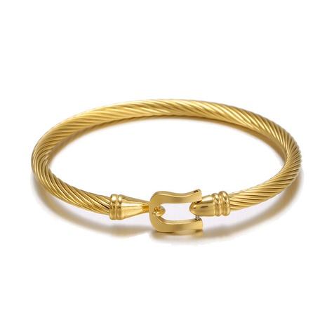 Bracelet ouvert Hip Hop en acier titane NHZU315144's discount tags