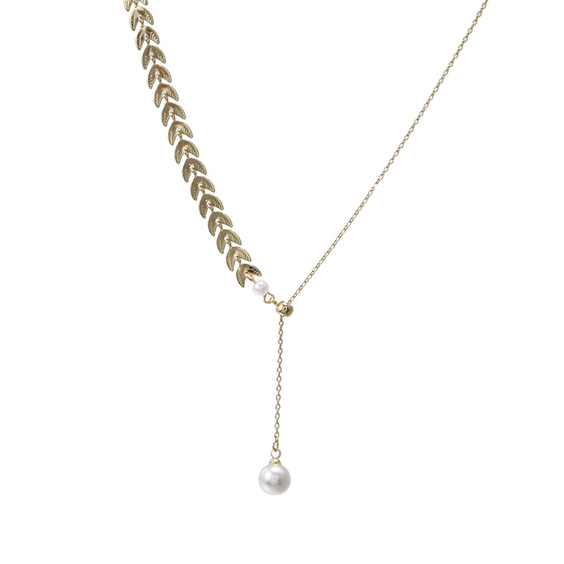 simple wheat pearl pendant necklace  NHZU315164