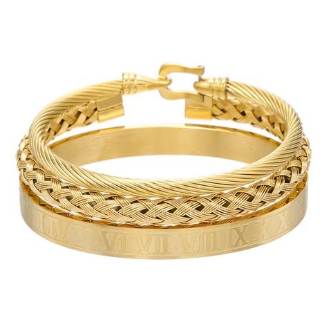 ensemble bracelet ouvert pour homme en acier titane NHZU315176's discount tags