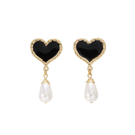 fashion retro rhinestone heart pearl earrings NHZU315183's discount tags