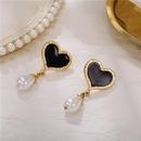 fashion retro rhinestone heart pearl earrings NHZU315183