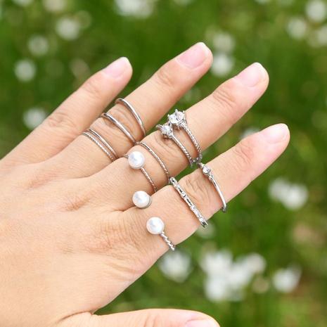 ensemble de 8 bagues à ouverture réglable avec perles de diamant NHZU315196's discount tags