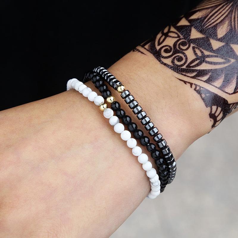 ensemble bracelet homme pin blanc noir NHZU315197