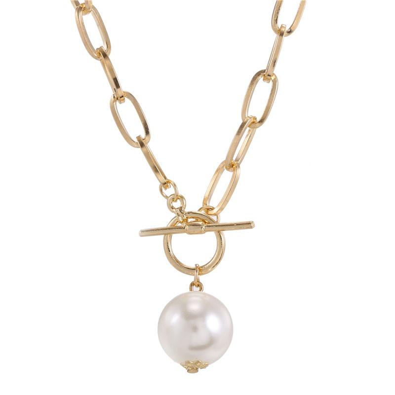Retro Metal Chain Pearl Long Necklace NHZU315198