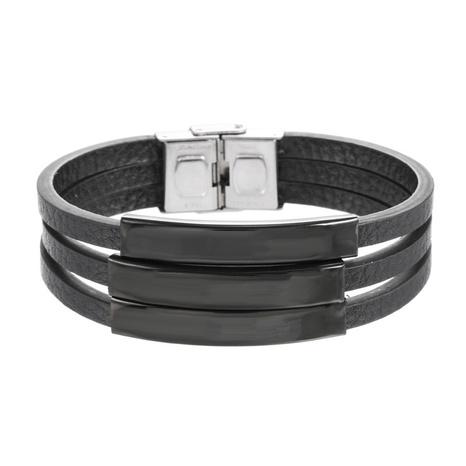 bracelet en cuir et acier titane NHZU315219's discount tags