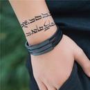 bracelet en cuir et acier titane NHZU315219