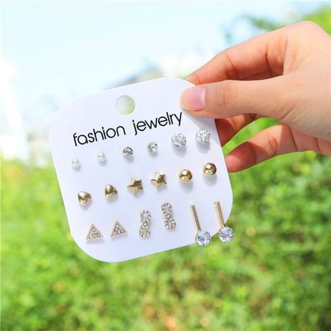 geometric polygon pearl earrings set  NHZU315218's discount tags