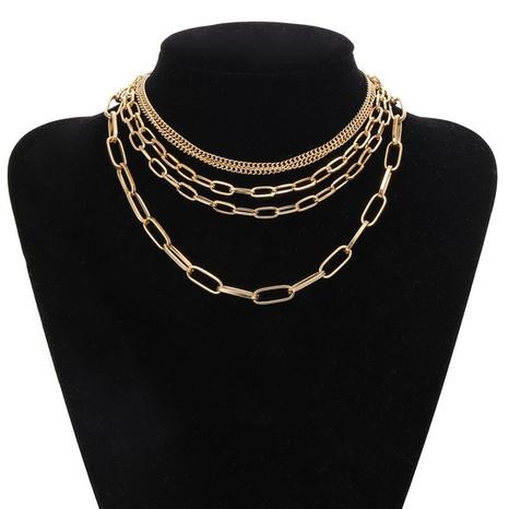 collier rétro géométrique multicouche NHZU315230's discount tags