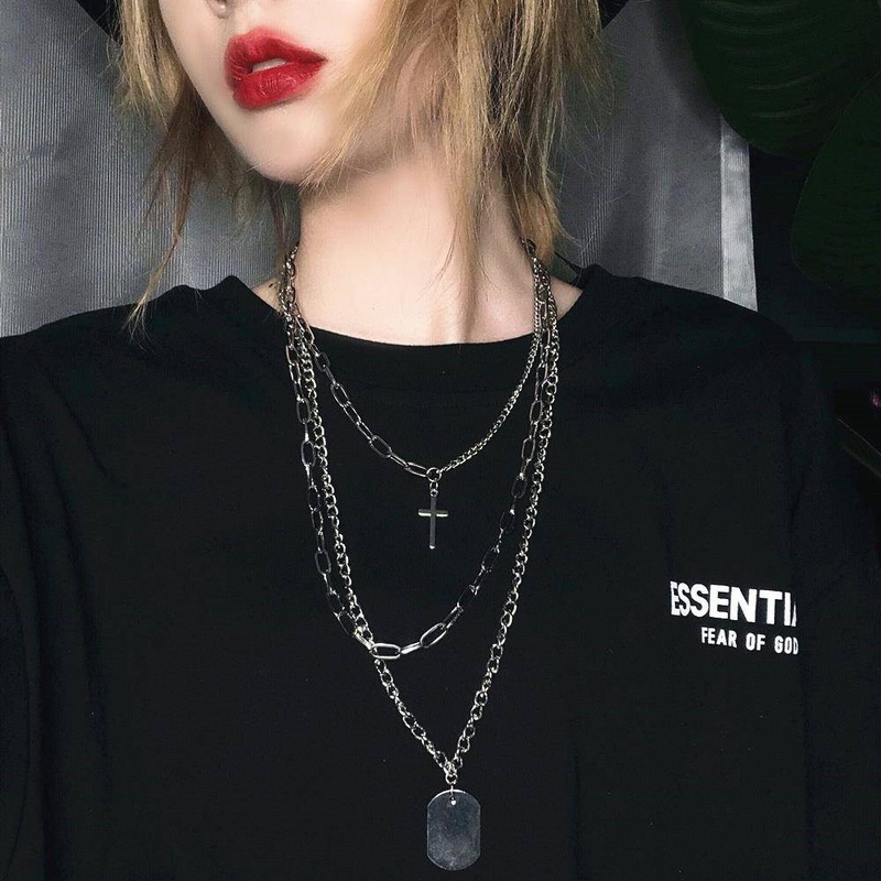 cross hip-hop multi-layer necklace NHZU315233
