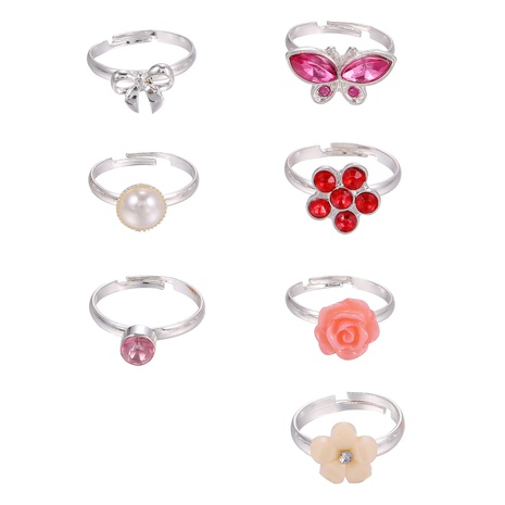 colorful diamond pearl butterfly flower rings 7-piece set NHZU315249's discount tags