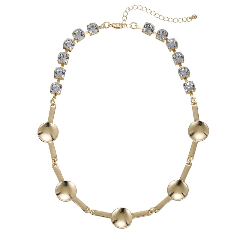 diamond-studded geometric all-match necklace NHZU315253