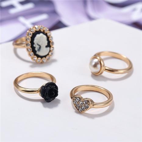Fashion retro diamond pearl black flower rings set NHZU315255's discount tags