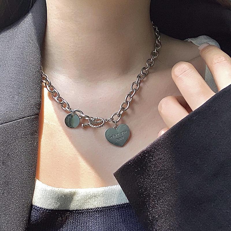 Korean fashion heart pendant necklace NHZU315269