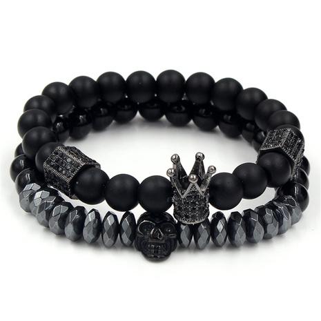 Bracelet tête de mort en pierre givrée noire NHZU315273's discount tags