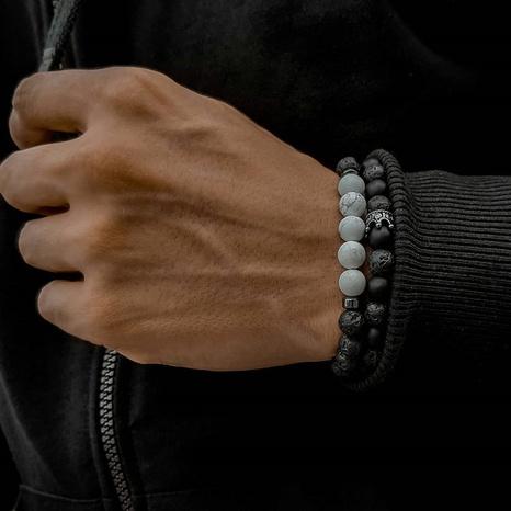 Bracelet couronne zircon micro-incrusté turquoise givré pierre de lave NHZU315272's discount tags