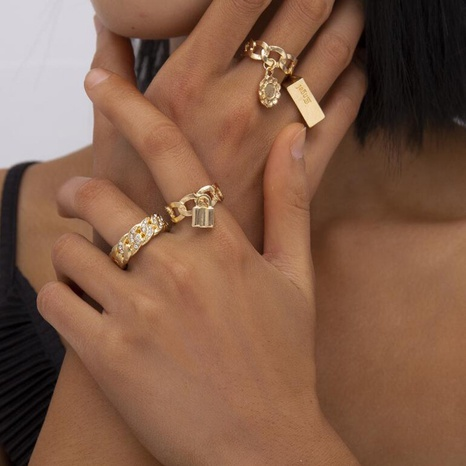 creative micro-inlaid rhinestone lock flower rings set NHZU315275's discount tags