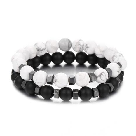 Ensemble de nouveaux bracelets pour hommes en perles blanches et noires NHZU315277's discount tags