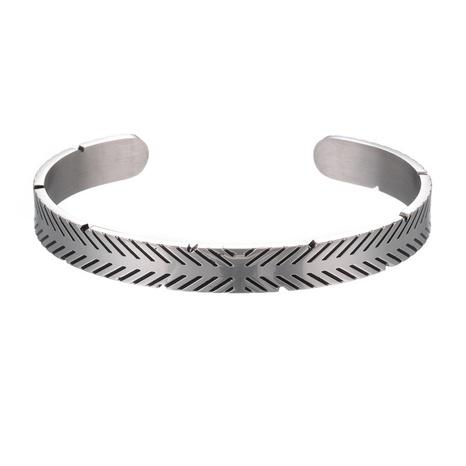 bracelet ouvert simple en acier titane NHZU315278's discount tags