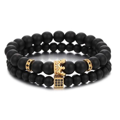 bracelet de dés couronne de perles de pierre givrée noire NHZU315280's discount tags
