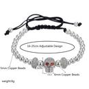 bracelet ajustable tte de mort zirconium incrust de perles de cuivre NHZU315285