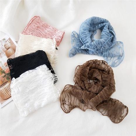 Lace long strip small silk scarf  NHMN315293's discount tags