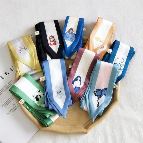 bufanda de seda larga y estrecha simple NHMN315296's discount tags