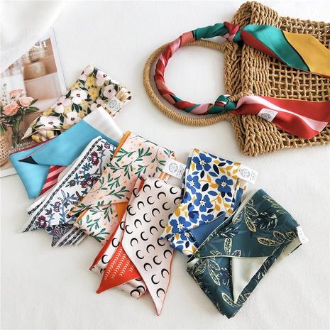 Pañuelo de seda estrecho bicolor de doble cara NHMN315322's discount tags