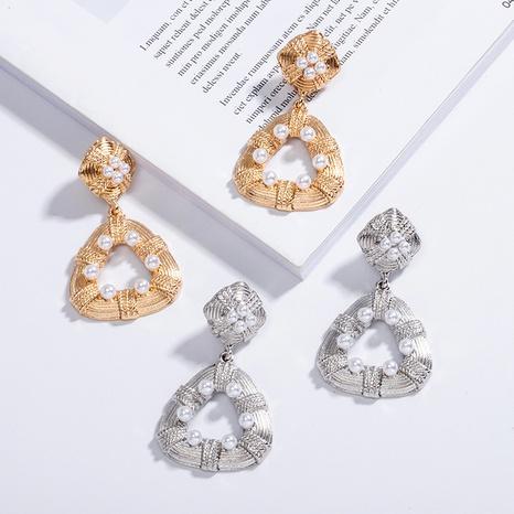 retro geometric pearl earrings  NHAI315358's discount tags