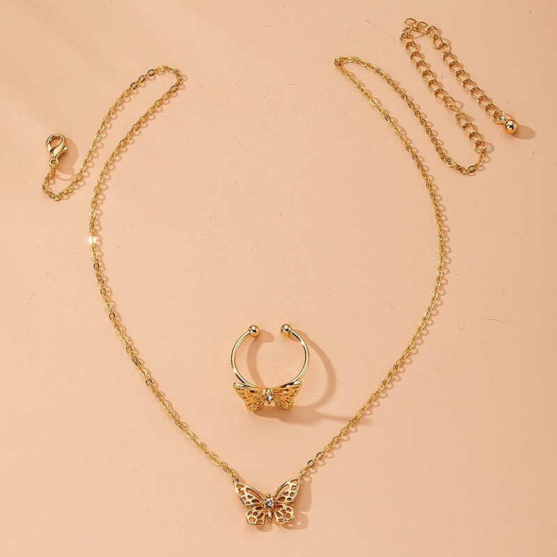 retro butterfly necklace NHAI315363
