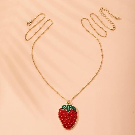 collier simple fraise NHAI315365's discount tags