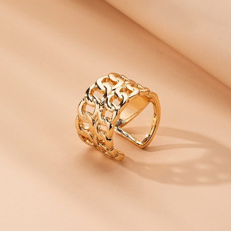 metal thick chain retro golden ring NHAI315366's discount tags