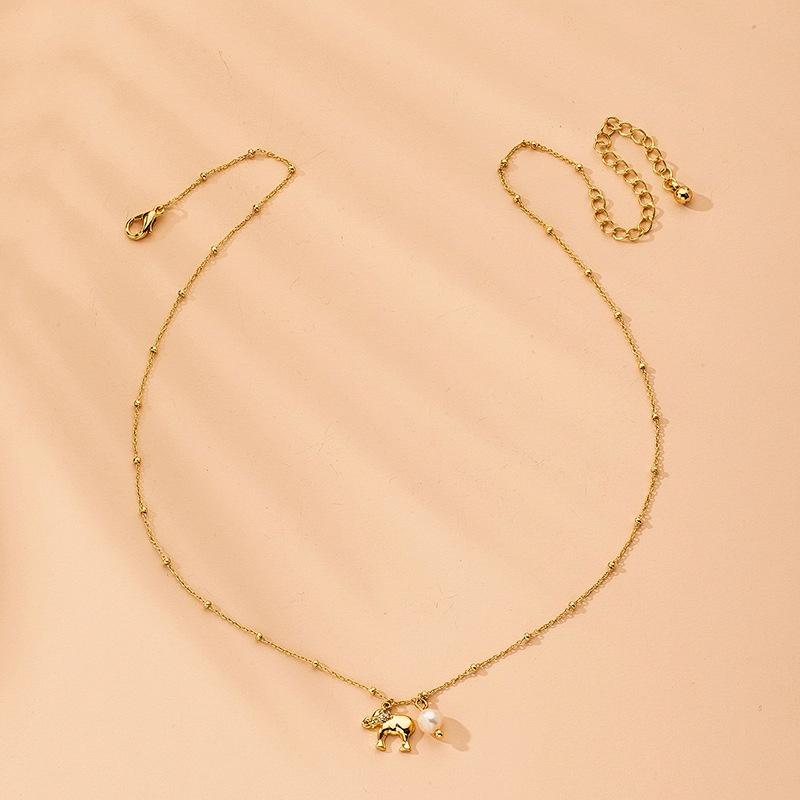 fashion baby elephant diamond pendant necklace  NHAI315369