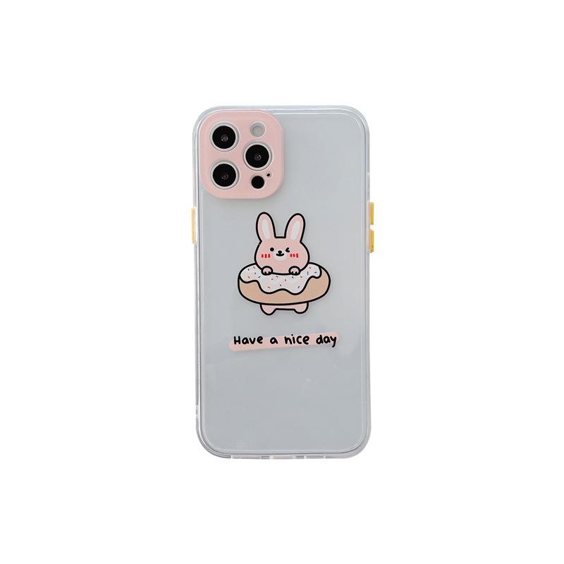 Side cute cartoon transparent mobile phone case for Apple 12mini 11pro X 8PLUS se2 xsmax NHFI314465