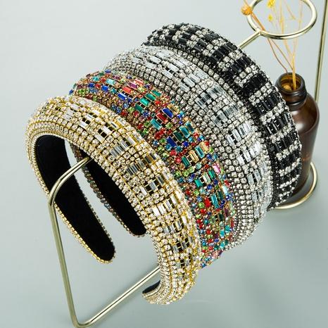 Baroque retro flannel sponge rhinestone headband NHLN318352's discount tags