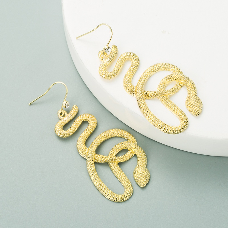 new exaggerated creative golden cobra earrings NHLN318356