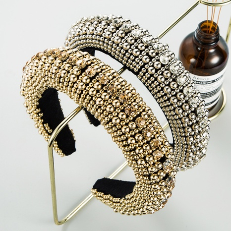 Baroque black flannel sponge golden pearl starry headband NHLN318363's discount tags