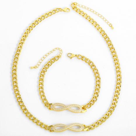 Cuban chain 8-shaped infinite necklace bracelet NHAS318365's discount tags