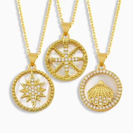 collar de diamantes de concha simple NHAS318367's discount tags