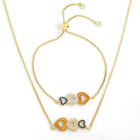 fashion micro-inlaid colorful peach heart bracelet necklace NHAS318368's discount tags