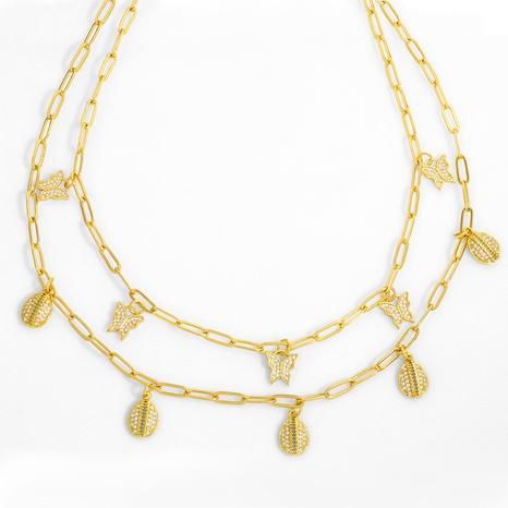 collar colgante de mariposa de concha corta de moda creativa NHAS318370's discount tags