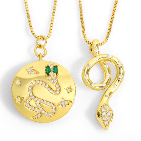 simple retro inlaid zircon snake-shaped necklace NHAS318371's discount tags