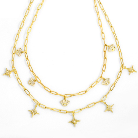 new creative six-pointed star chain necklace NHAS318373's discount tags