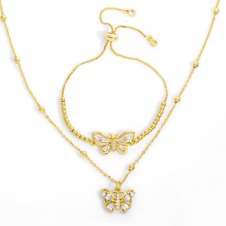 Korea fashion butterfly necklace NHAS318377's discount tags