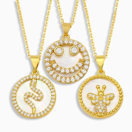 Korean fashion diamond shell necklace NHAS318378's discount tags